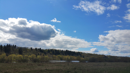 River,village, forest and beautiful sky. Nature composition