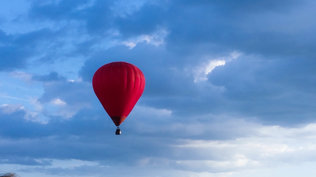 Colorful Hot Air Balloons in Flight. Cloudy day Imagens