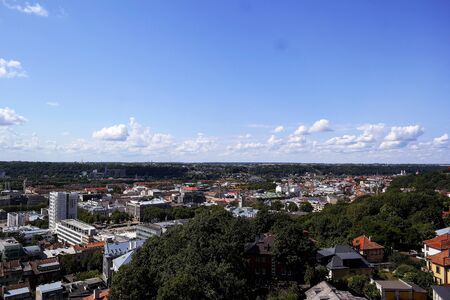 Kaunas beautiful old town, drone aerial view