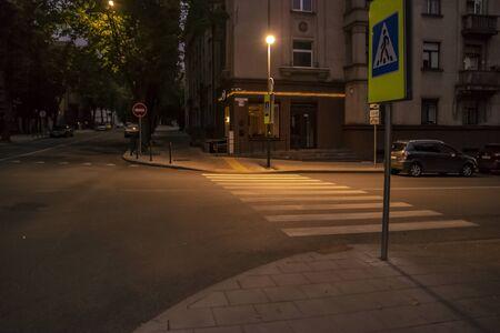 City in Night, Kaunas. Putvinskio street. July