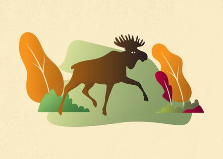 Moose in wild nature landscape background illustration vector