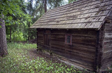 A hut in forest, old hut and vintage hut. East Europe