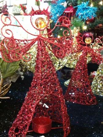 candleholder: Red angel candleholder Stock Photo