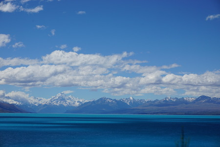 blue waters: Bright blue waters in picturesque Mount Cook, New Zealand