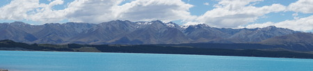 waters: Bright blue waters in picturesque Mount Cook, New Zealand