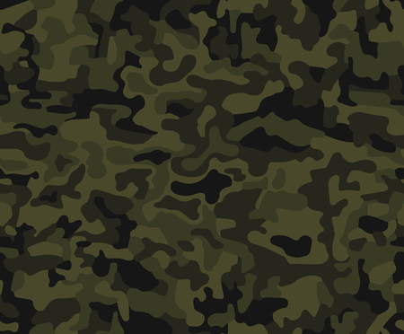 Seamless pattern. Abstract military or hunting camouflage background. Brown, green color. Vector illustration.