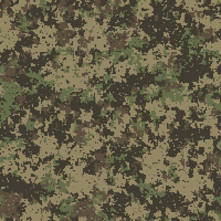 Seamless pattern. Abstract military or hunting camouflage background. Made from geometric square shapes. Vector illustration. Ilustração