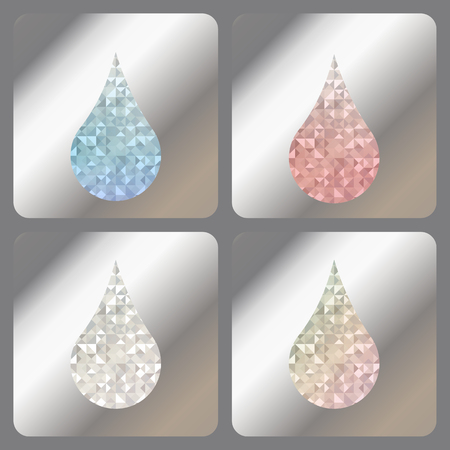 Set abstract labels with iridescent holograms on matallic foil. Blue, red, silver or diamond and rainbow iridescent drops with holographic effect.