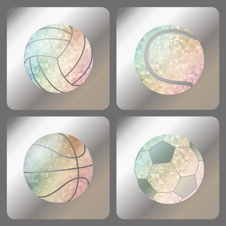 Set labels with iridescent holograms on metallic foil. Rainbow iridescent balls on silver basis with holographic effect for football, soccer, volleyball, wate rball, basketball, tennis, baseball. Vector. Çizim