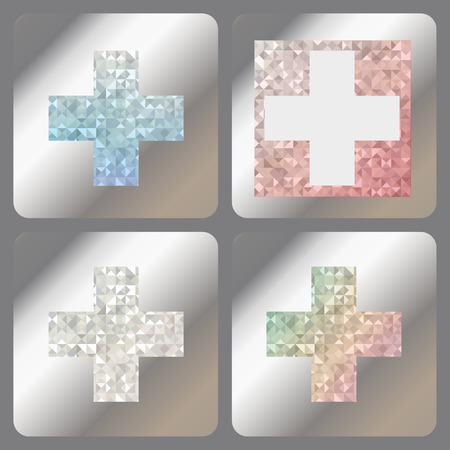Set abstract labels with iridescent holograms on metallic foil. Blue, white, silver or diamond and rainbow iridescent cross with holographic effect. Vector. Çizim