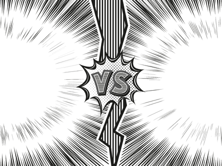 Versus letter background. Cartoon retro design with long fissure and explosion bubbles. Black and white comics explosion background. Vector illustration.