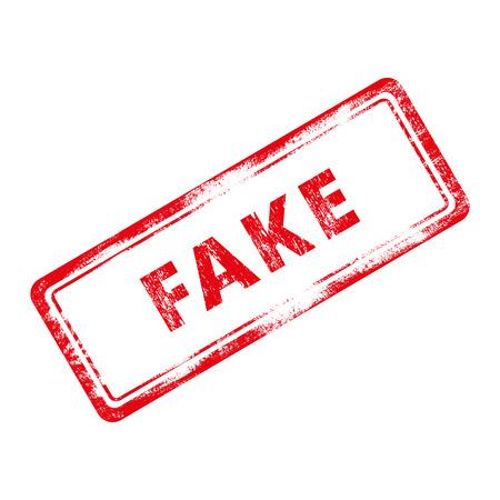 Fake stamp. Red rubber stamp effect. Grunge illustration.