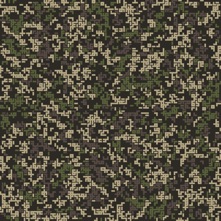 Seamless pattern. Abstract military or hunting camouflage background. Winter shades. Made from geometric shapes. Labyrinth style. Vector illustration. Çizim