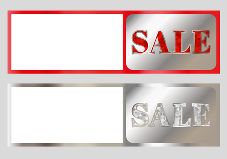 Concept holographic sticker with inscription SALE. Label or price tag with holographic effect and metallic glitter isolated on gray background.
