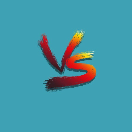 Concept design versus letters fight background. Inscription with a brush red and yellow letters on a blue background. Vector illustration. EPS10.