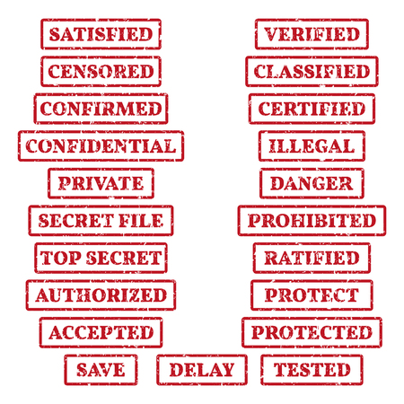 A set of rubber stamps on a theme: private, censored, confidential, protect, top secret, etc. 21 vector illustration.