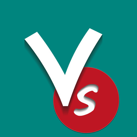 Concept design versus letters fight background. Vs inscription on a paper art style. White and red color with a shadows effect on a turquoise background. Vector illustration.