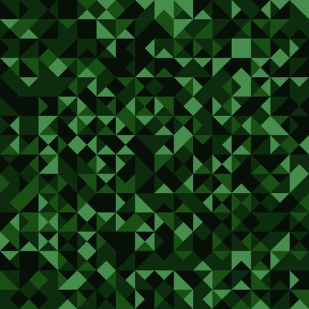 Abstract green triangles mosaic camouflage background. Holographic effect. Vector illustration.
