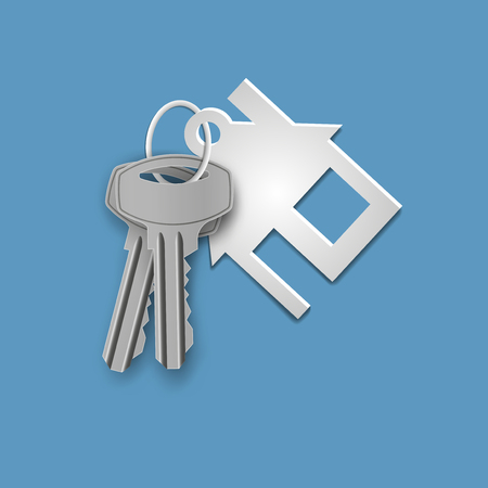 Set of keys with a house shaped keychain. Ilustração