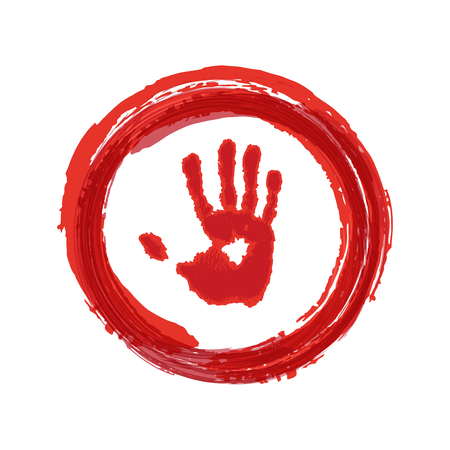 Red hand in red ring icon. Stop sign. Vector illustration.