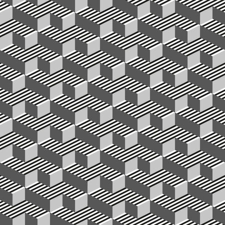 Abstract 3d seamless geometric pattern. Black, white, gray background. Rectangle, square and stripes shapes. Vector illustration. Çizim