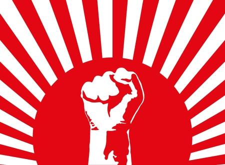 아트 포스터. 빨간색 배경에 주먹. 싸움, 항의, 반란군, 권력과 화합의 상징. 혁명의 배너. 벡터 일러스트 레이 션.