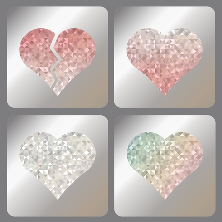 Broken, red, silver or diamond and rainbow iridescent heart with holographic effect. Set abstract labels with iridescent holograms on matallic foil.
