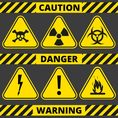 Set of signs the radiation, toxic, poison, flammable, voltage, warning. Seamless signal tapes caution, danger, warning. Çizim