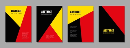 Covers with red, yellow, black colors. Geometric backgrounds. Çizim
