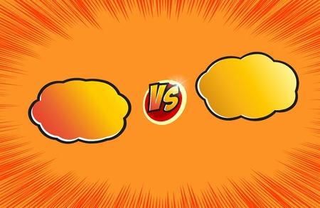 Versus letter background. Cartoon retro design with cloud bubbles. Yellow and orange color. Comics explosion background. Vector illustration.