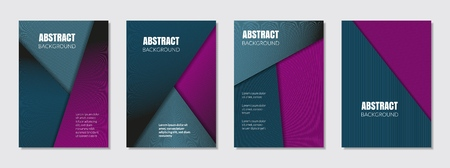 Covers with turquoise, purple, violet, magenta colors. Minimal design. Geometric backgrounds. Design for report annual, brochure, flyers, magazine, posters, catalogs, banners. Vector illustration.