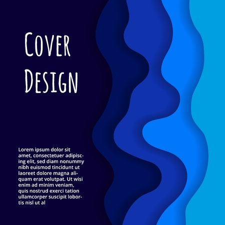 Cover with 3D waves abstract background. Design for report annual, brochure, flyers, magazine, posters, catalogs, banners.