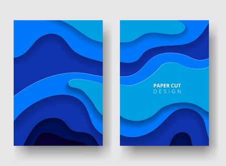 Vertical A4 covers with 3D abstract background. Paper cut design. Blue color. Design for report annual, brochure, flyers, magazine, posters, catalogs, banners. Carving art. Vector illustration. Çizim