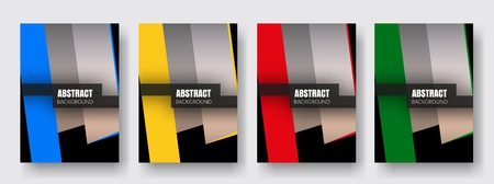 Covers with yellow, red, green, blue colors. Minimal design. Çizim