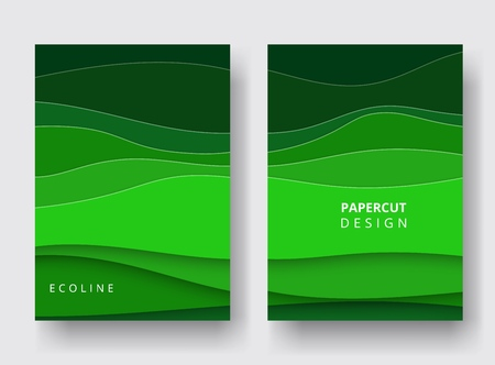 A4 covers with 3D abstract background. Paper cut design for report annual, brochure, magazine, posters, catalogs, banners. Shades of green for ecology design and environment. Carving art. Vector.