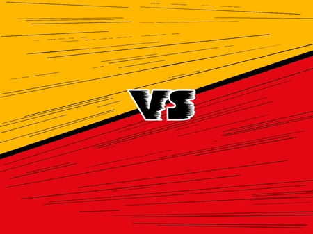 Versus letter background. Cartoon retro stripes design. Yellow and red color. Comics background. Vector illustration. Çizim