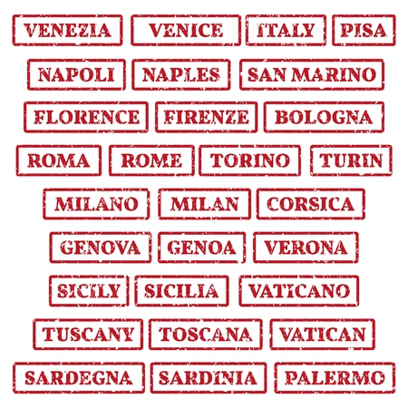 A set of rubber stamps on a tourist theme. The most famous cities of Italy.