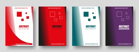 Covers with red, green, purple colors. Minimal design. Geometric backgrounds. Design for report annual, brochure, flyers, magazine, posters, catalogs, banners. Vector illustration. Çizim