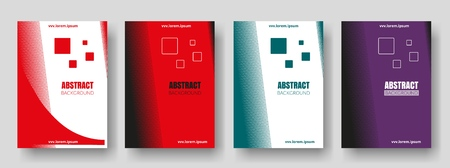 Covers with red, green, purple colors. Minimal design. Geometric backgrounds. Design for report annual, brochure, flyers, magazine, posters, catalogs, banners.