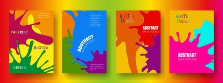 Set of cover templates  with colorful blots Çizim