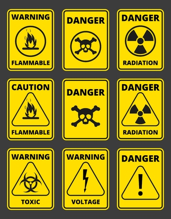 Set of signs the radiation, toxic, poison, flammable, voltage, warning. Seamless signal tapes caution, danger, warning. Illustration