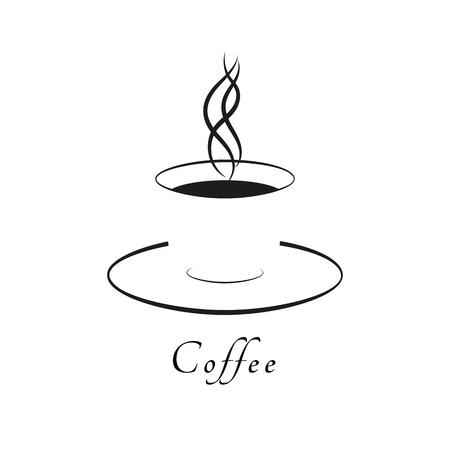 Coffee cup or tea cup. Mug of hot drink. Logo coffee or tea. Vector illustration.