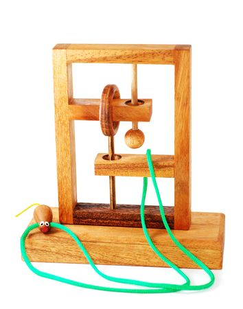 isolated wood puzzle for trening organization and creativity photo