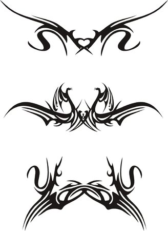 symmetric: abstract shapes, black on white background, vector