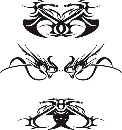 abstract figures, black on white background, vector