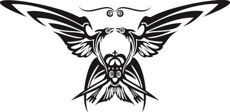 oriental vector: two head eagle, vector Illustration