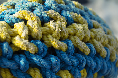 plaited: plaited ropes of blue and yellow color