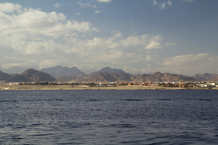 sharm: seascape of Sharm El Sheikh shore with mountains Stock Photo
