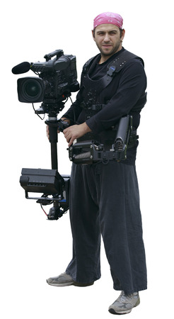 professional cameraman with camera and stabilization system in pink bandana and with the earring isolated on white