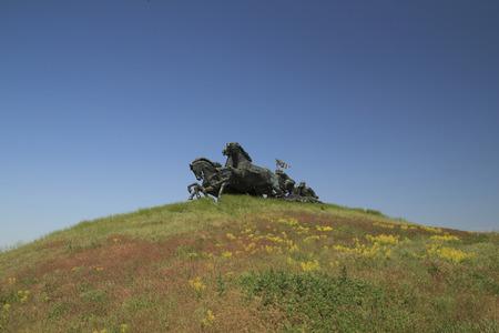 legendary: Legendary Tachanka monument on a flowering mound